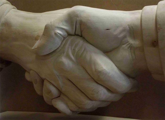 Händedruck, Handschlag, Poignee de main, Handshake, Neujahrsgrüße Thorwald Brandwein, Polygrün, Fassadenbegrünung