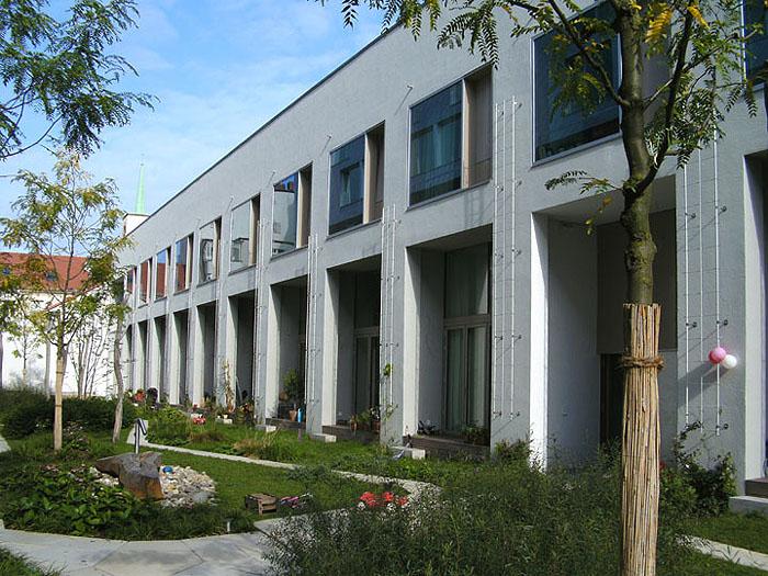Hofbegrünung, bodengebundene Fassadenbegrünung mit Polygrün Kletterhilfen aus GFK im Innenhof, Zelterstr. Berlin