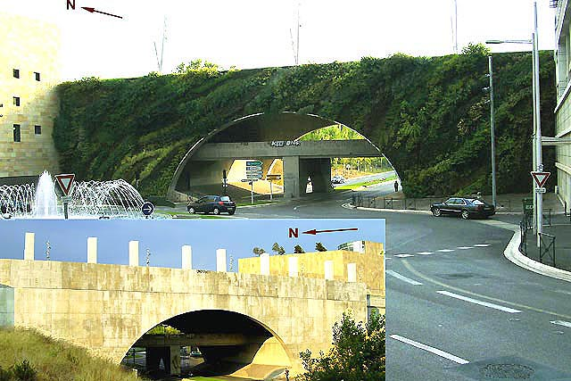 Image 7- Northern and southern side of the greened bridge in Aix en Provence, Patrick Blanc (see details; image 5). The bald southern side of the building is probably not as suitable for greening as the northern side. The northern side, protected against extreme temperatures is probable exposed to accelerated wind flow and thereby subject to drought damage (in the center of the upper edge)
